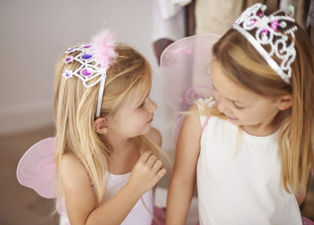 Cropped shot of little girls wearing fairy princess costumes