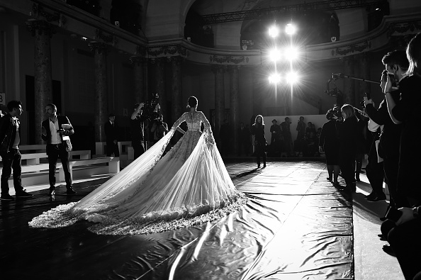 PARIS, FRANCE - JANUARY 25: (EDITORS NOTE: This image has been converted to black and white)Model Isabeli Fontana walks the runway during rehearsals for the Ralph & Russo Spring Summer 2016 show as part of Paris Fashion Week on January 25, 2016 in Paris, France. (Photo by Gareth Cattermole/Getty Images)