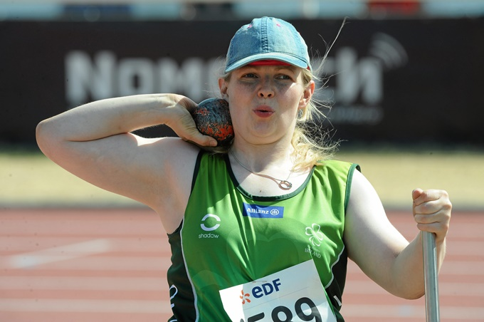 27 July 2013; Team Ireland's Deirdre Mongan, from Galway, competing in the Women's Shot Put – F52/53 final. 2013 IPC Athletics World Championships, Stadium Parilly, Lyon, France. Picture credit: John Paul Thomas / SPORTSFILE *** NO REPRODUCTION FEE ***