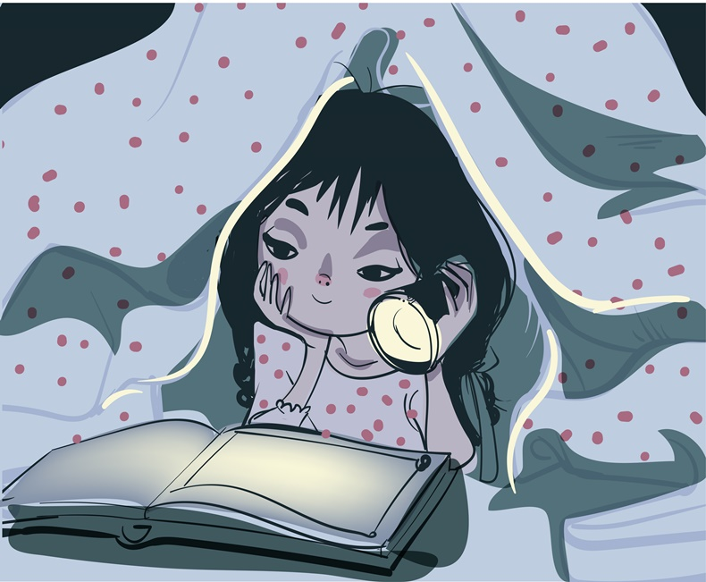 A vector illustration of little girl reading a book in the bedroom under a blanket using a flash light