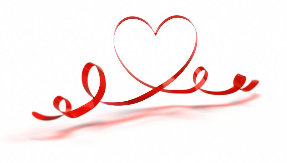 Heart Shape made with semi-transpared ribbon.