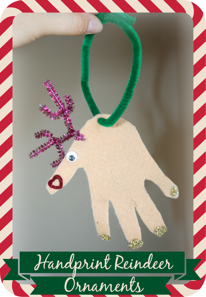5 cute Christmas crafts you and the kids can make together ...  Reindeer Handprint Ornament