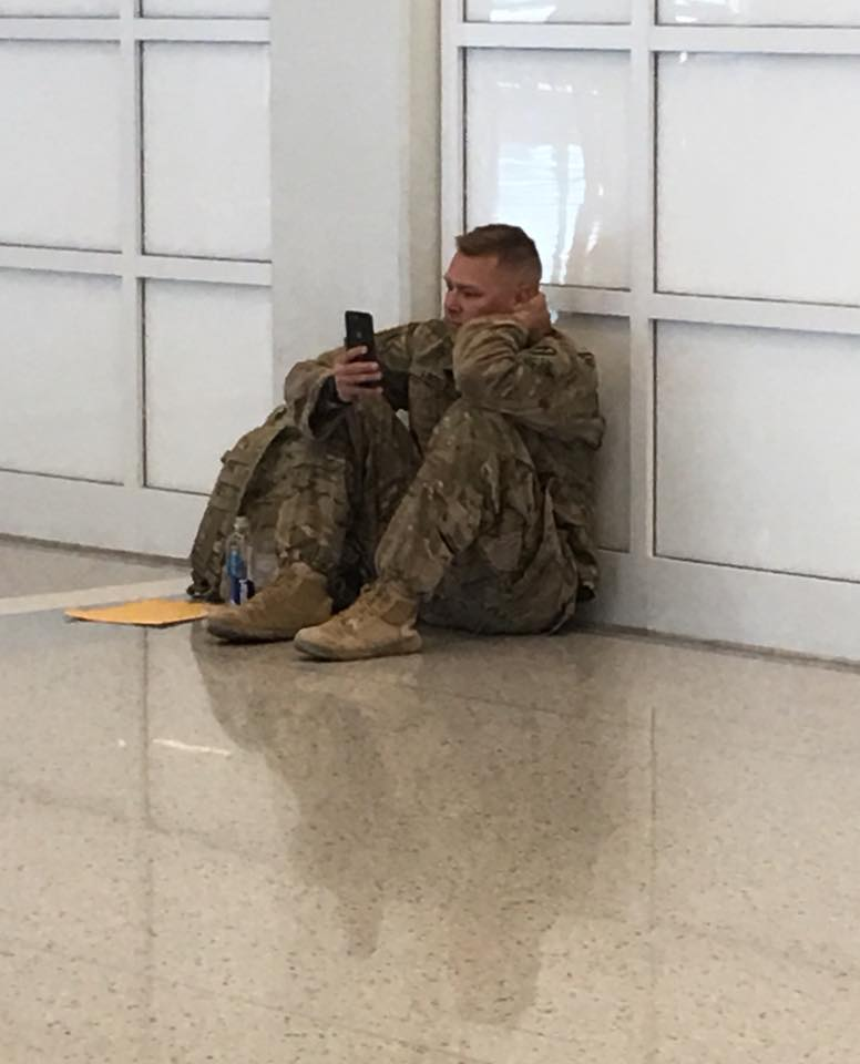 This solider watching the birth of his child on FaceTime is tear-inducing