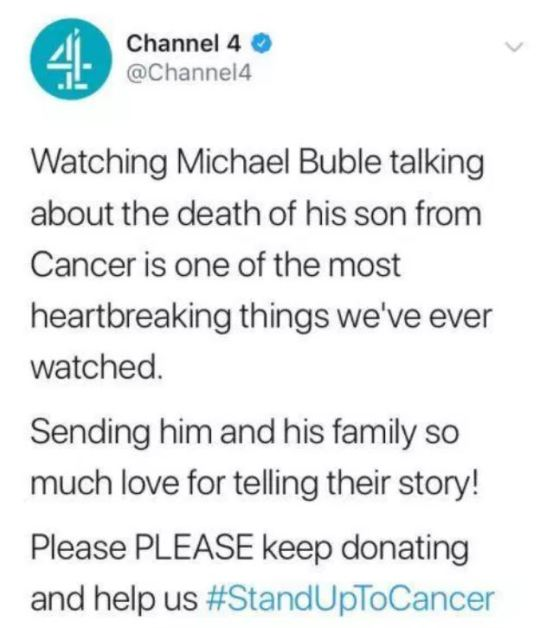 Channel 4 wrongly tweets that Michael Buble's son died from cancer