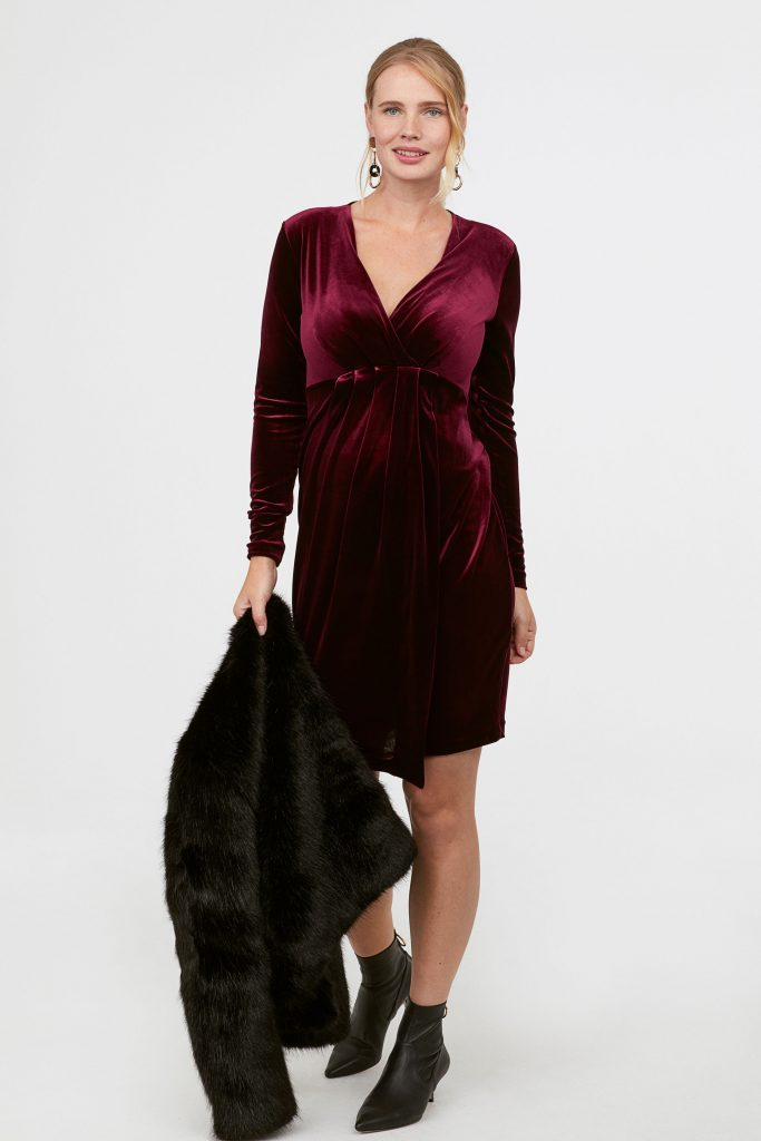 maternity leopard horn button frill midi dress - Christmas Maternity Dress